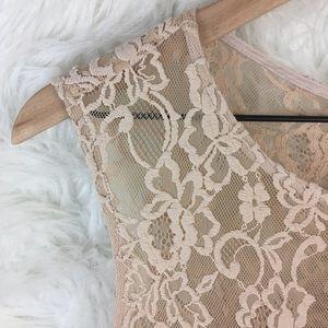 Zara Dresses - zara nude fit and flare lace dress